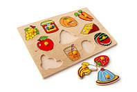 Рамка-вкладыши Завтрак овощи и фрукты Lam Toys 11 деталей