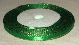 Лента атласная с люриксом зеленая