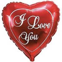 """Фольгированное сердце с надписью """"I love you"""""""