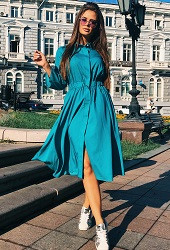 Платье-рубашка бирюзовое Viravi Wear, модель 1017