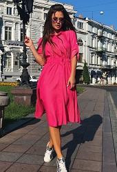 Платье-рубашка малиновое Viravi Wear, модель 1017