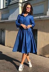 Платье-рубашка индиго Viravi Wear, модель 1017