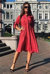 Платье-рубашка красное Viravi Wear, модель 1017