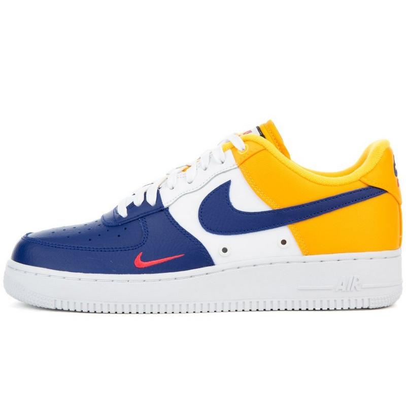 Кроссовки мужские Nike Air Force 1 '07 LV8 (белые-желтые-синие) Top replic