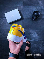 Кроссовки мужские Nike Air Force 1 '07 LV8 (белые-желтые-синие) Top replic, фото 2