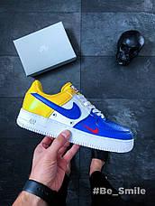 Кроссовки мужские Nike Air Force 1 '07 LV8 (белые-желтые-синие) Top replic, фото 3