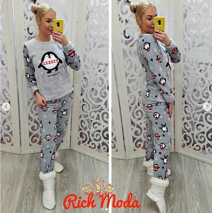 27d376a7499ab3e Махровая пижама женская кофта и брюки Турция — купить недорого в ...