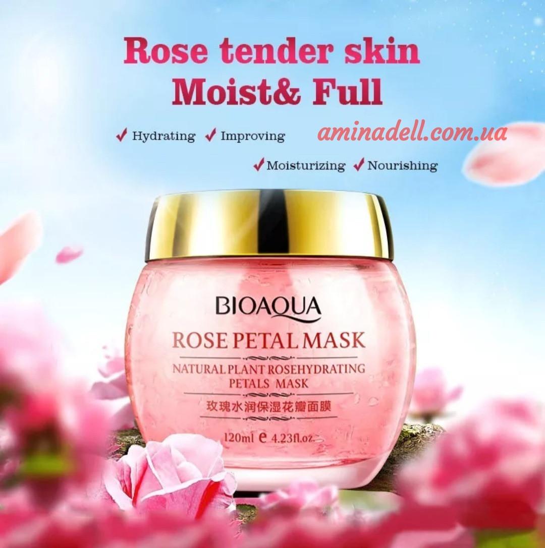 Ночная увлажняющая маска для лица с экстрактом розы BioAqua Rose Petal Mask 120 ml