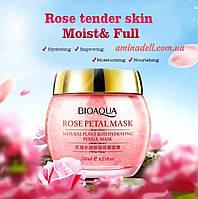 Ночная увлажняющая маска для лица с экстрактом розы BioAqua Rose Petal Mask 120 ml, фото 1