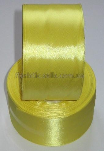 Лента атлас 5 см/1 м, желтая