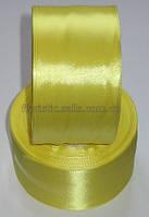 Лента атлас 5см желтая