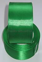 Лента атласная 5см зеленая