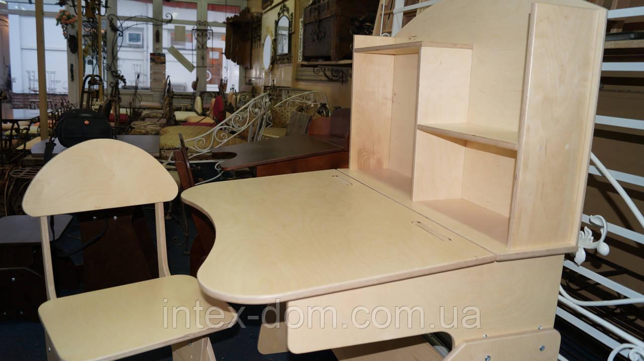 Детская регулируемая парта растишка со стулом 3838 ручной роботы из фанеры, фото 1