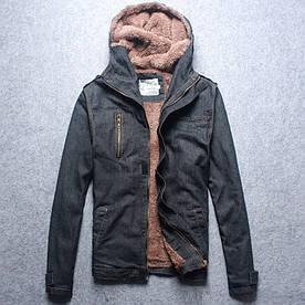 """Куртка чоловіча джинсовий на хутрі з капюшоном 'EMESSI"""" (демисезон/еврозима)"""