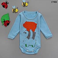 """Боди """"Медвежата"""" с длинным рукавом для мальчика. 1, 3, 6, 9, 12 мес, фото 1"""