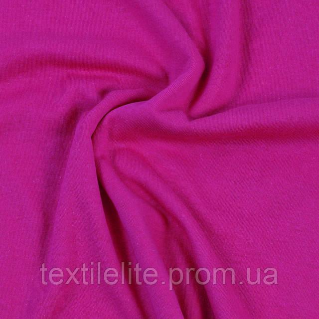 Кулирная гладь трикотаж хлопковый в рулонах кислотно-розовый
