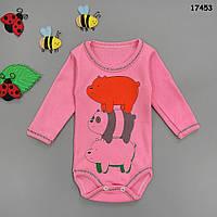 """Боди """"Медвежата"""" с длинным рукавом для девочки. 1, 3, 6, 9 мес, фото 1"""