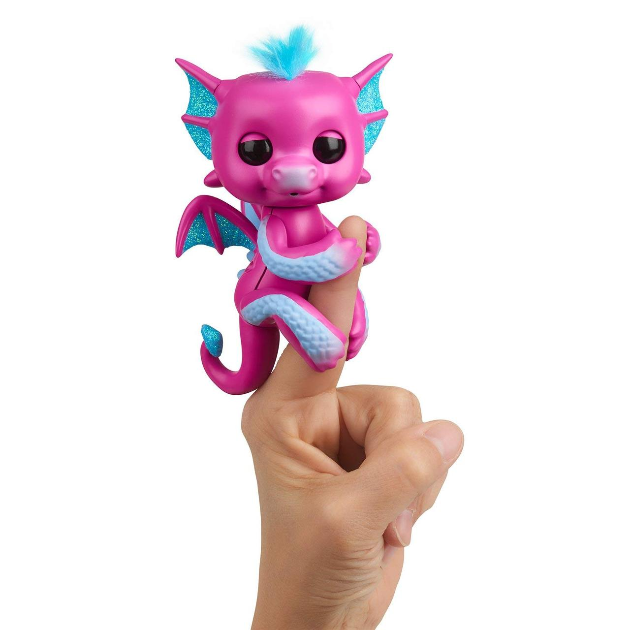 Интерактивный дракончик Розовый, Glitter Dragon, WowWee Fingerlings Оригинал из США