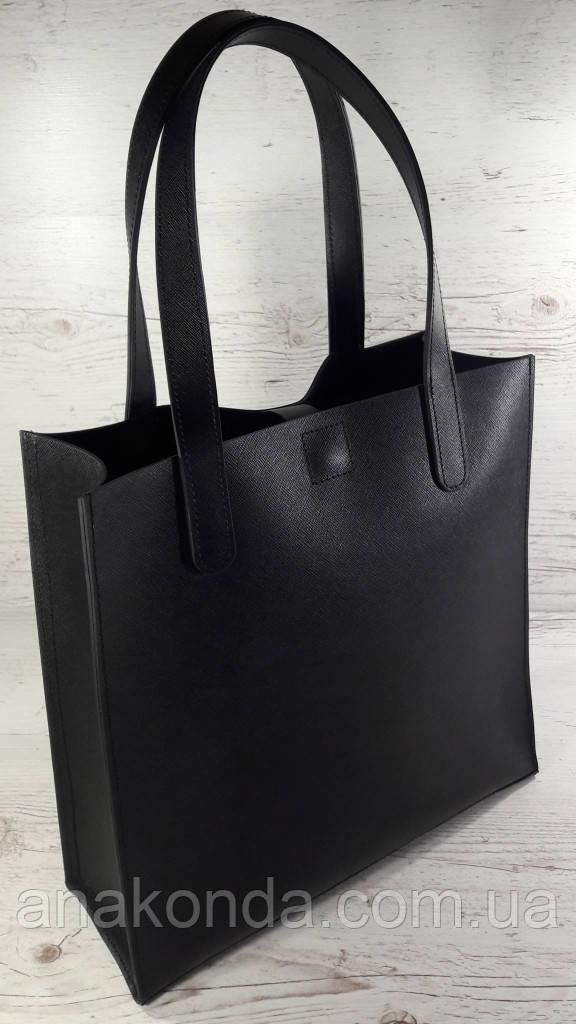 281 Натуральная кожа, черная Сумка-пакет на подкладке, Сумка-шоппер кожаная черная сумка кожаная черная