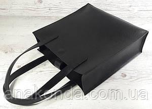 281 Натуральная кожа, черная Сумка-пакет на подкладке, Сумка-шоппер кожаная черная сумка кожаная черная , фото 2
