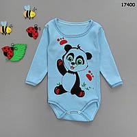 """Боди """"Панда"""" с длинным рукавом для мальчика.  15, 18 мес;  2 года, фото 1"""
