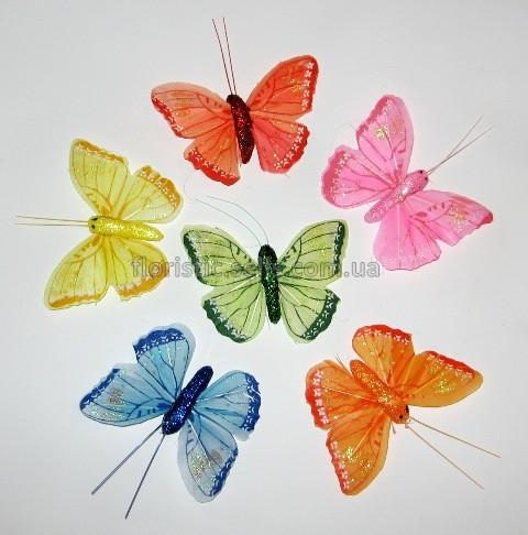 Бабочки искусственные с блестками