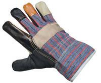"""Перчатки комбинированые х/б + кожа """"Люкс"""" (плотные, качественные), фото 1"""