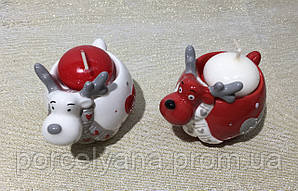 Подсвечник новогодние олени керамика