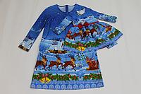 """Повседневно - нарядное платье на маму и доченьку (в стиле Фемели Лук) """" Новогодние олени и снеговички (мама трапеция)"""