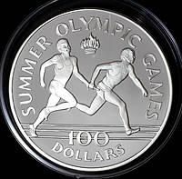Серебряная монета Ямайки 100 долларов 1988 г. Летние Олимпийские игры. Пруф