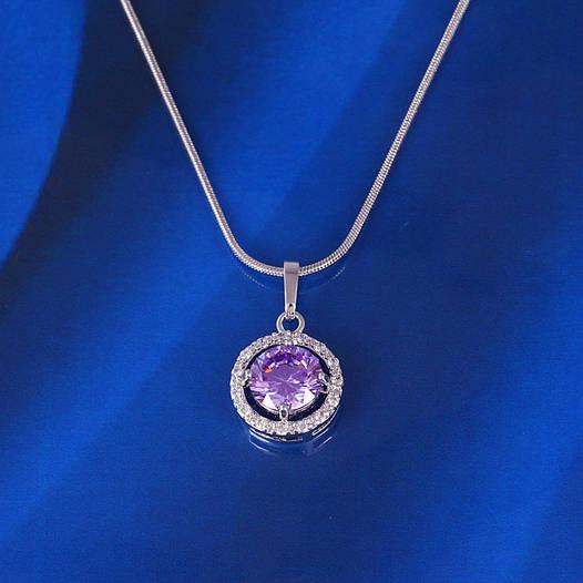 Кулончик с фиолетовым цирконием, 21мм*12мм