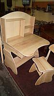 Детская регулируемая парта растишка со стулом 3840 ручной роботы из дерева, фото 1