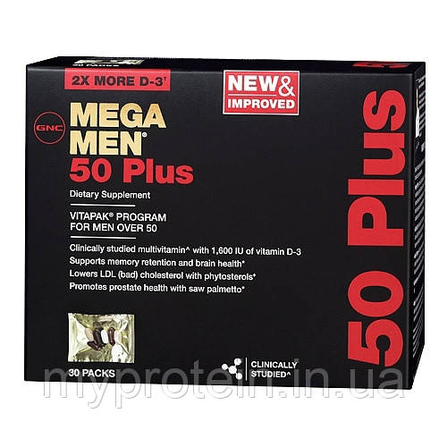 GNC Витамины и минералы для мужчин Mega Men 50 Plus (30 packs)