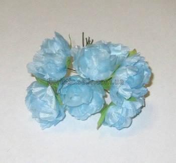 Ранункулюсы искусственные 3 см, голубой