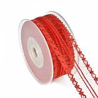 Лента декоративная красная 4 см