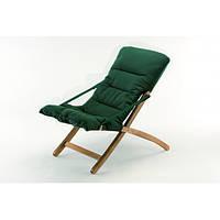 Кресло шезлонг раскладное садовое с зеленой мягкой подушкой Linda soft 2, фото 1
