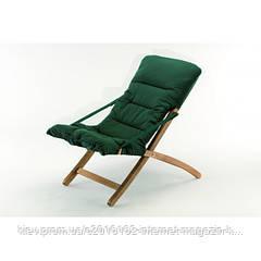 Кресло шезлонг раскладное садовое с зеленой мягкой подушкой Linda soft 2