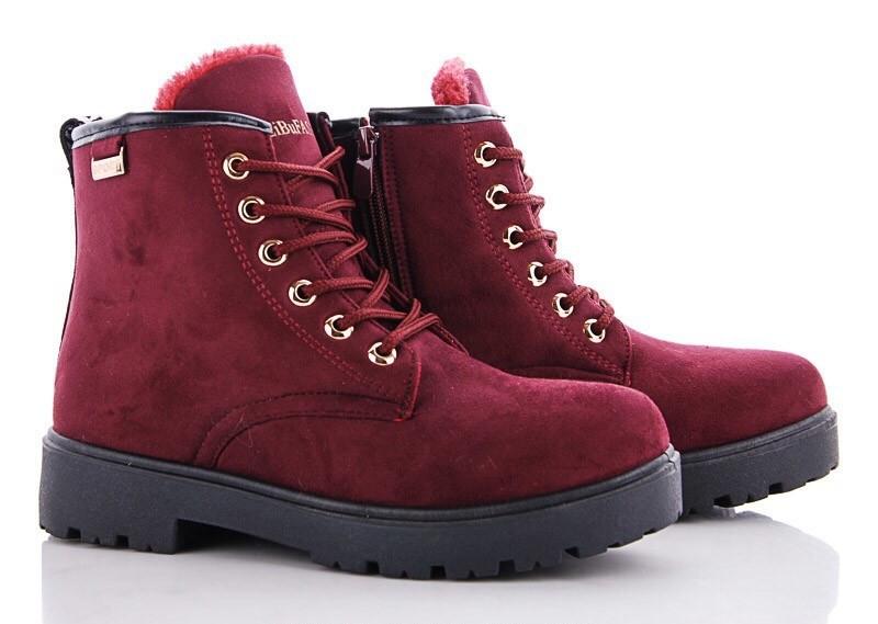 Стильные бордовые (марсала) женские теплые ботинки ЗИМА