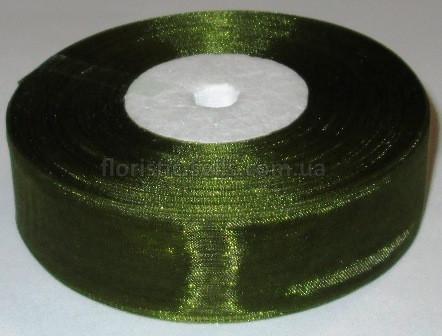 Лента органза 2,5 см темно-оливковая