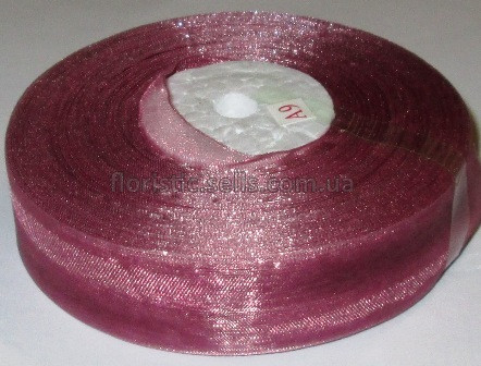 Лента органза 2,5 розово-сиреневая - 1м