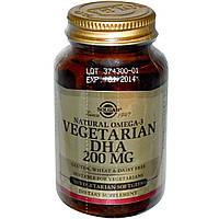 Вегетарианская Омега 3, Solgar, 200 мг, 50 капсул