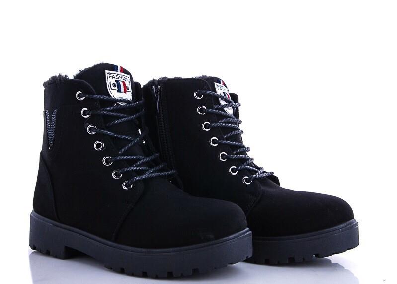 Размеры 36, 37 Стильні чорні жіночі теплі черевики ЗИМА V Fashion