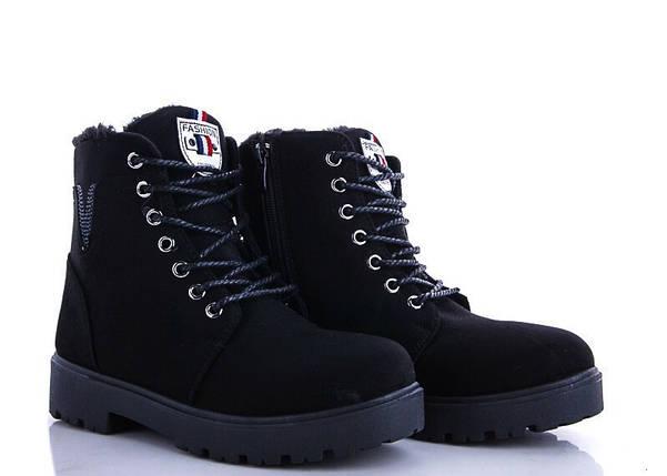 Размеры 36, 37 Стильні чорні жіночі теплі черевики ЗИМА V Fashion, фото 2