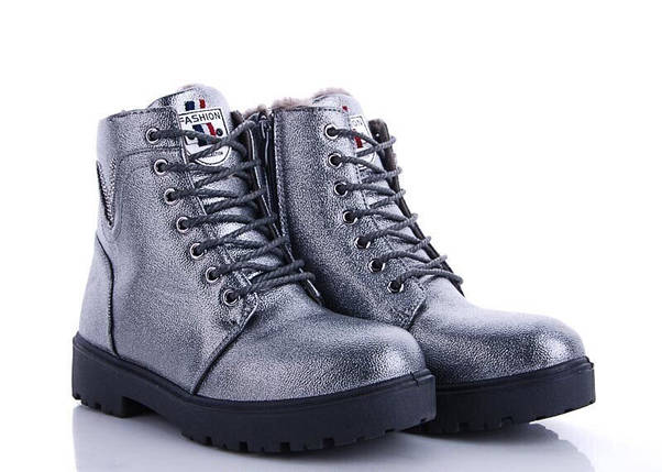 Стильні сріблясті жіночі теплі черевики ЗИМА V Fashion, фото 2