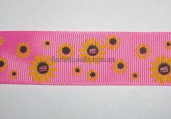 Репсова стрічка Соняшники, рожева