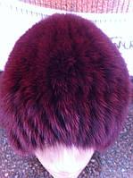 Меховая шапка из песца вишнёвого  цвета на вязанной  основе