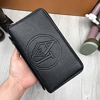 Брендовый мужской клатч Armani Jeans AJ на 2 молниях застежках бумажник кошелек с ручкой экокожа люкс реплика