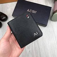 8127abe0cb0f Компактный мужской кошелек кожаный Armani Jeans черный женский натуральная  кожа портмоне Армани Джинс реплика