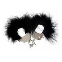Наручники металлические с черной отделкой Adrien Lastic Handcuffs Black Наручники