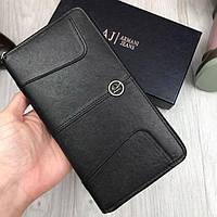 Стильный кожаный кошелек Armani Jeans черный клатч на молнии кожа женский мужской бумажник Армани люкс реплика